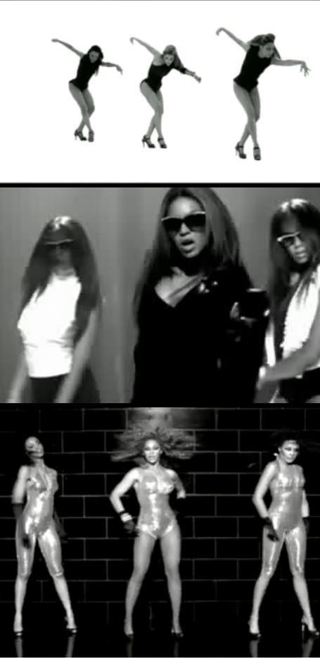 Beyoncé e a estética 'P&B com minhas amiguês é clouse'. Em seus três últimos clipes: Single Ladies, Diva e Ego, respectivamente.