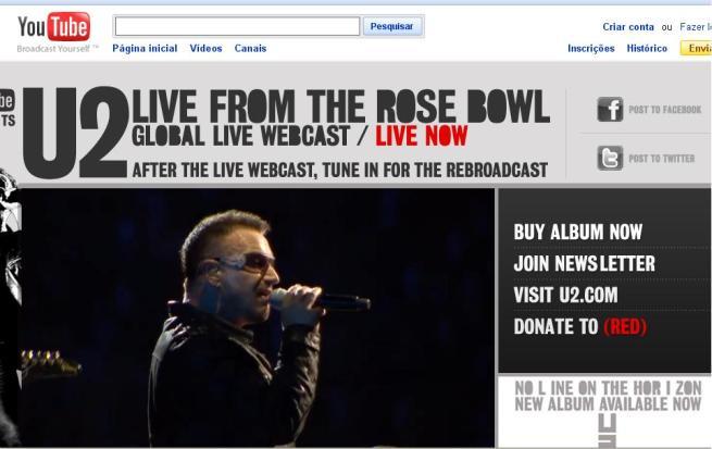 print screen do canal u2 ao vivo no youtube